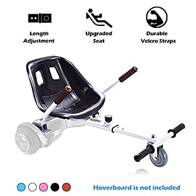 Go Kart Hoverboard Seat Attachment Accessories Hover Board Cart for Adults Kids Self Balancing Scooter Compatible with 6.5'' 8'' 10'' Adjustable Seat Frame, White