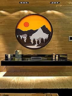 LAVNIK Traditional Art Wooden Handicrafts Natural Design Round Frame Showpiece - Wooden Wall Hanging Plaque, Wood Carving ...