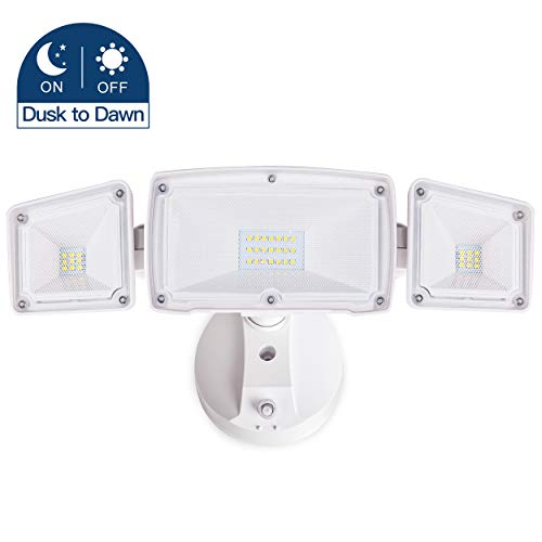 Amico 30W Dusk to Dawn LED Flood Light - 3 Head Security Light Outdoor, Metal Head 5000K Daylight White 3500 Lumens IP65 Waterproof, White Exterior Wall Flood Light Outdoor with Photocell