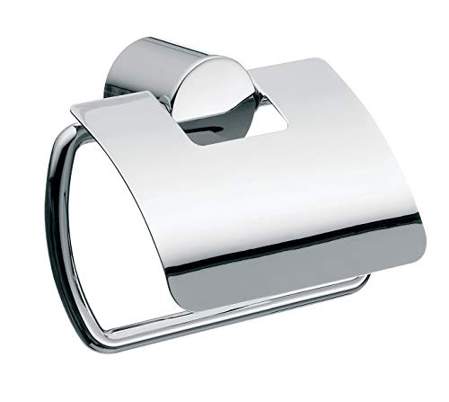 Emco Rondo 2 Toilettenpapierhalter, chrom, Klopapierhalter, mit Deckel, Rollenhalter, Wandmontage - 450000100