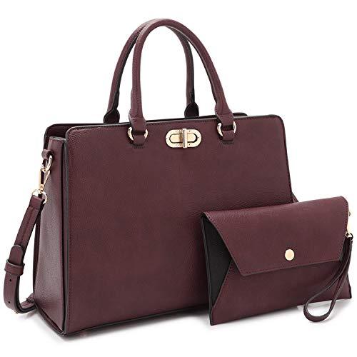 Dasein Women Handbags Purses Satchel Bag Top Handle Work Tote Shoulder Bag with Matching Wallet 2pcs Set (Peppled purple)