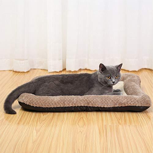 Peto-Raifu ペットクッション ペットベッド ペットソファー マット 小型 中型犬 猫 小動物 寝床 ゲージ敷物 ケーブル柄 洗える もこもこ 暖か ひんやり ふわふわ 通年用 寒さ対策 ペット用品 38x48x5cm ベージュ