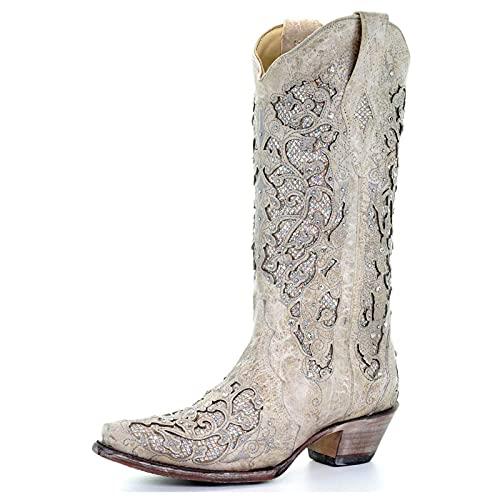 MeiLuSi Botas occidentales para mujer, estilo vaquero, botas de tacón grueso bordado de montar a caballo, Blanco, 39 EU