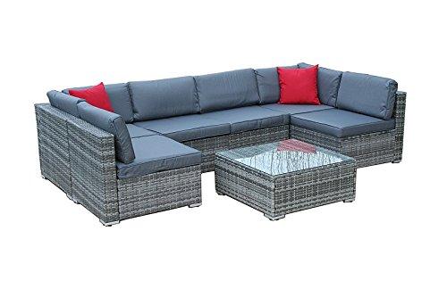 XXL Lounge Gartenmöbel Poly Rattanmöbel Sitzgruppe Gartengarnitur Gartenset Grau