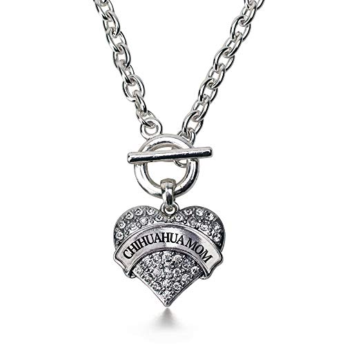 Inspired Silver - Chihuahua Mom Toggle Charm Necklace for Women - Silver Pave Heart Charm 18 Inch Necklace with Cubic Zirconia Jewelry