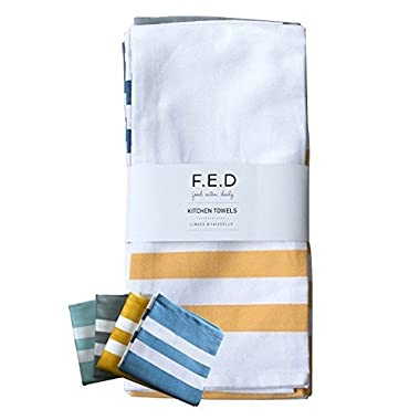 Kitchen Dish Towel by F.E.D, Extra Large Tea Towel in 4 colours, 100% Professional Cotton, Machine Washable Fabric (Set/Pack of 4)