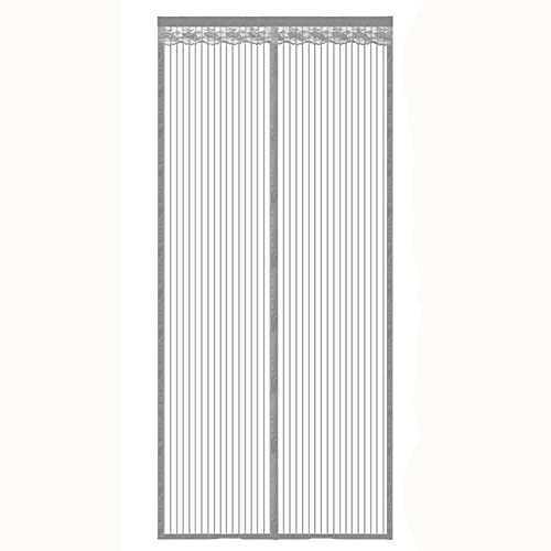 Magnetic Screen Door 32x80 inch Screen Doors with Magnets Mesh Curtain Self Sealing Heavy Duty Hands Free Mesh Partition Keeps Bugs Out Pet and Kid Friendly,Gray