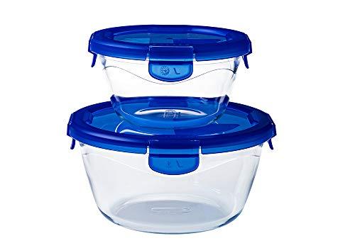 Pyrex® - Cook & Go - Lot de 2 boîtes de conservation en verre rondes avec couvercles hermétiques et étanches (0.7L, 1.6L) - Sans BPA
