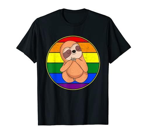 Cute Sloth Lover Gay Pride Stuff Teens Retro Rainbow LGBTQ + T-Shirt