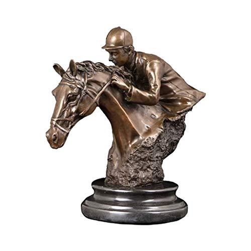 ZLBYB Escultura de equitación Vintage Horse Trainer Bust Bronce Estatua Estatuilla con...