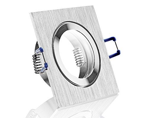 IP44 Einbaustrahler Alu- Feuchtraum Badezimmer Einbaurahmen Bicolor eckig Klickverschluß Spritzwassergeschützt für LEDs