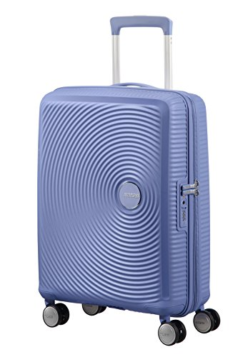AMERICAN TOURISTER Soundbox - Spinner S Espandibile Bagaglio a Mano, Spinner S (55 cm - 41 L), Blu (Denim Blue)