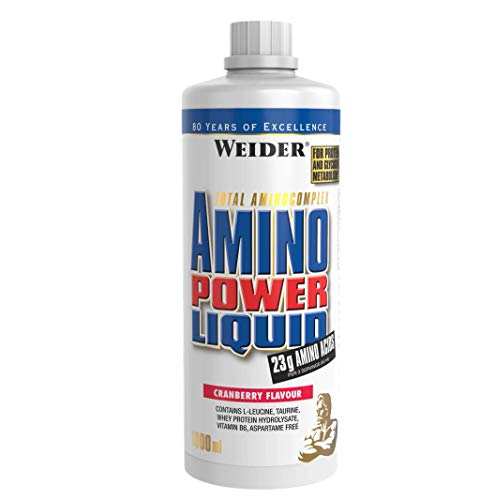 Weider Amino Power Liquid 1L Cranberry, Essential Amino Acids, L-leucine, Free Taurine, Vitamin B7
