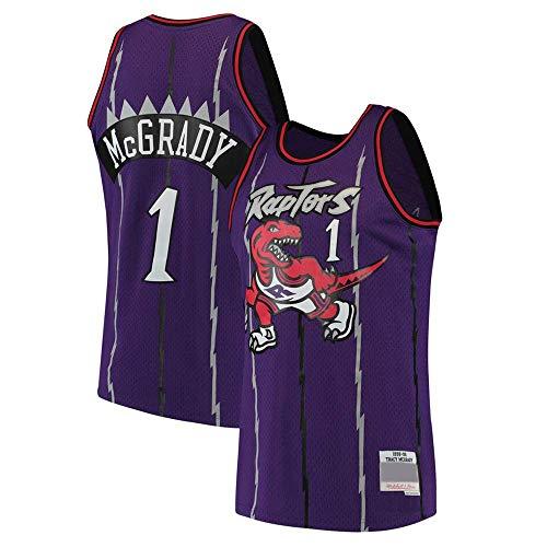 June Bart Canotta NBA,Donne Jersey Uomo - Toronto Raptors 1# McGrady Maglie Traspirante Ricamati Pallacanestro Swingman Jersey