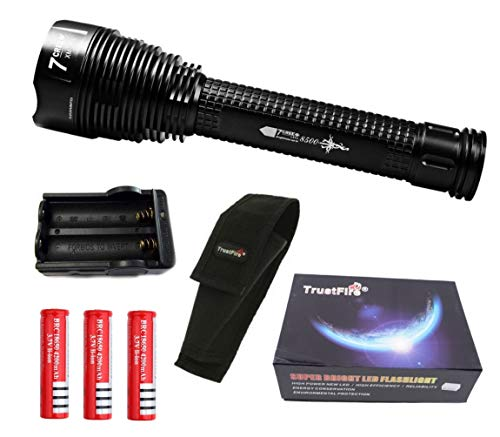 Linterna Trustfire J18 7 Led CREE XML-T6-4200 mAh ultrafire - 8500lm / 1 Modo / 3 baterías. Aguardos, vigilancia, caza, linterna de gran alcance (B - Linterna kit alumbrado)