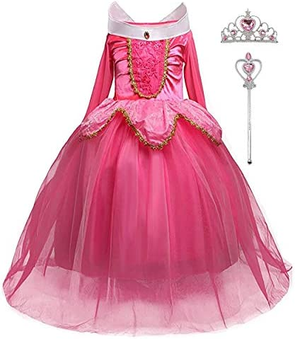 iTVTi Girls Princess Dress Up Halloween Party Costume with Crown Wand 2 10 Years Pink product image