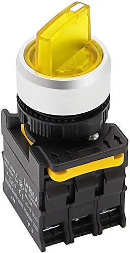 Tnisesm LA155-A1-20XSD-Y - Interruttore rotativo a 3 posizioni, impermeabile, IP65, 10 A, 600 V, colore: Giallo