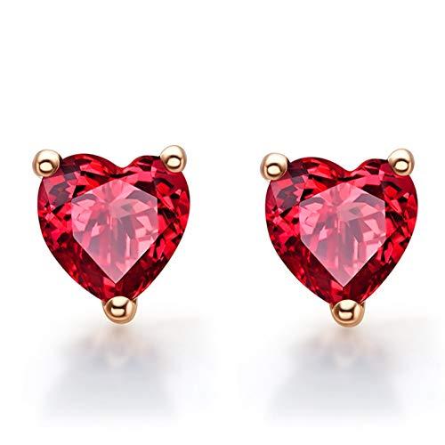 ANAZOZ 18K Oro Rosa Pendientes Mujer Oro Rosa Pendientes Mujer Corazón Granate Rojo 1.28ct
