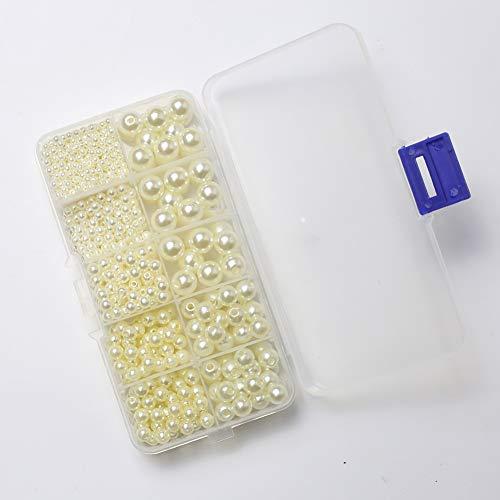 DAHI perlen Runde Dekoperlen Creme Weiß Bastelperlen mit Loch Gemischte Größe für Schmuckherstellung (Creme Weiß)