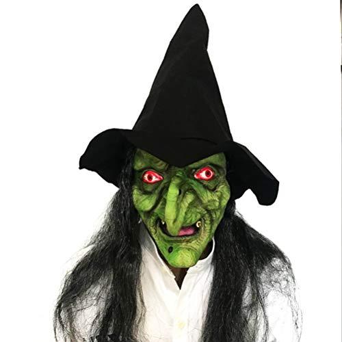 Latex volledige kop Scary Green heks masker met zwarte haren en hoed voor Halloweenkostuum Cosplay Party rekwisieten