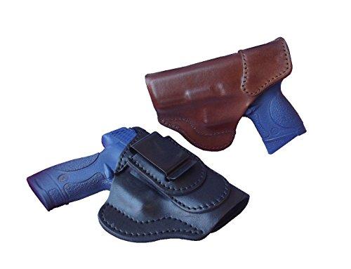 J&J Custom Fit Kahr CW9 Formed Tuckable IWB Inside Waistband Premium Leather Carry Holster (Brown, Left)