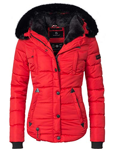 Marikoo Damen Winter Jacke Steppjacke Lotusblüte (vegan hergestellt) Rot Gr. S