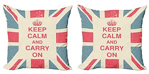 Keep Calm - Juego de 2 fundas de cojín (2 unidades), diseño de bandera británica con cremallera de doble cara, impresión digital, 45 cm x 45 cm, color azul coral oscuro
