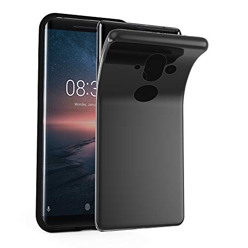 Cadorabo Hülle für Nokia 8 Sirocco in SCHWARZ – Handyhülle aus flexiblem TPU Silikon – Silikonhülle Schutzhülle Ultra Slim Soft Back Cover Hülle Bumper