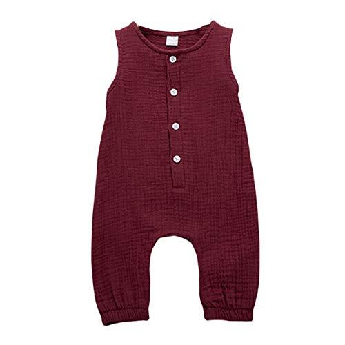 Neugeborene Baby Strampler solide ärmellose Knöpfe Baumwolle Leinen Jumpsuit Spielanzug für Mädchen Jungen (3-6 Monate, Weinrot)