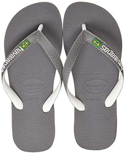 Havaianas Brasil Mix, Chanclas Unisex Adulto, Multicolor (Steel Grey/White/White), 35/36 EU