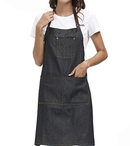 Einstellbare Schürze Kochschürze Damen Baumwolle Mit 3 Taschen Cooking Chef Herrenschürze Geeignet für Wohnküchen, Restaurants, Kaffee, Bistro 100% Baumwolle Schwarz Cowboy
