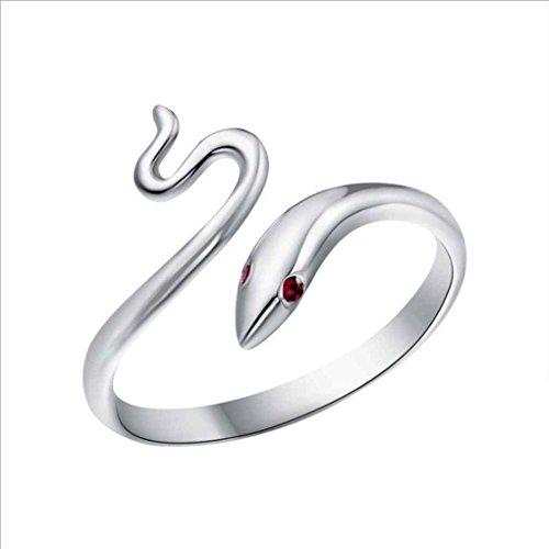 Vkospy Women Silver-Plated Ring Finger Opening Bright Red Eye Snake Ring