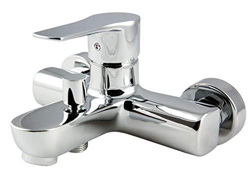 Grifo monomando de bañera NAD con desviador 2 vías, equipo de ducha de mano, soporte y flexo. Fabricado en latón cromado brillo. Incluye cartucho, excéntricas y embellecedores. Repuestos garan