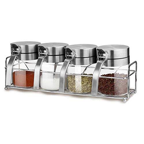 Post Gabinete Transparente - (Tres Pedazos y Cuatro Piezas Opcional) Conjunto de Metal Caja de Almacenamiento del Tanque Condimento - Hogar Condimento de contenedores de Almacenamiento (Size : M)