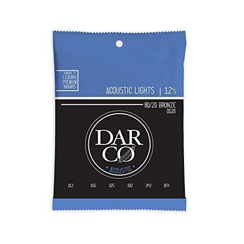 Darco Strings D520 - Corde per chitarra acustica 80/20, in bronzo chiaro 12-54