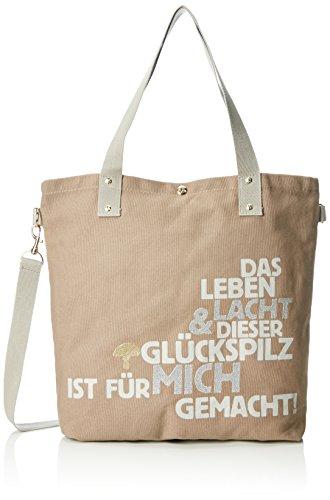Adelheid Damen Glückspilz m. Spruch Einkaufstasche Shopper, Braun (Taupe 366 366), 44x39x10 cm