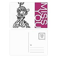 中華竜鳥動物の抽象的な ポストカードセットサンクスカード郵送側20個ミス