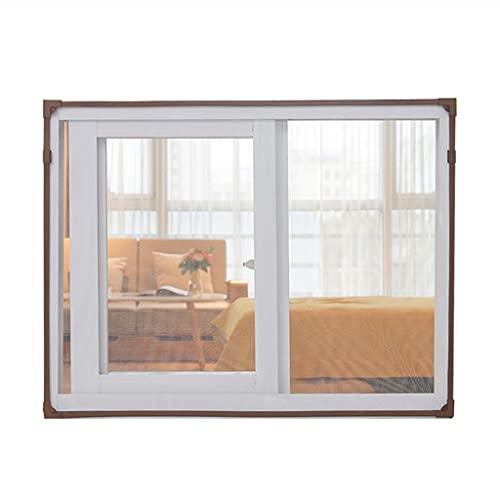 BBGS - Schermo magnetico per finestra, zanzariera in fibra di vetro, facile installazione, impedisce l'ingresso di insetti, mosche/zanzare (telaio marrone con rete bianca) (dimensioni: 180 x 200 cm)