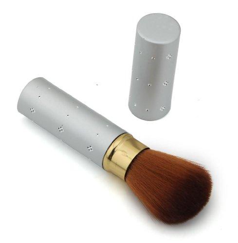 Studio maquillage poudre blush Pinceau Visage Petit étui en aluminium Argenté avec Imitation Décoration façon bijou