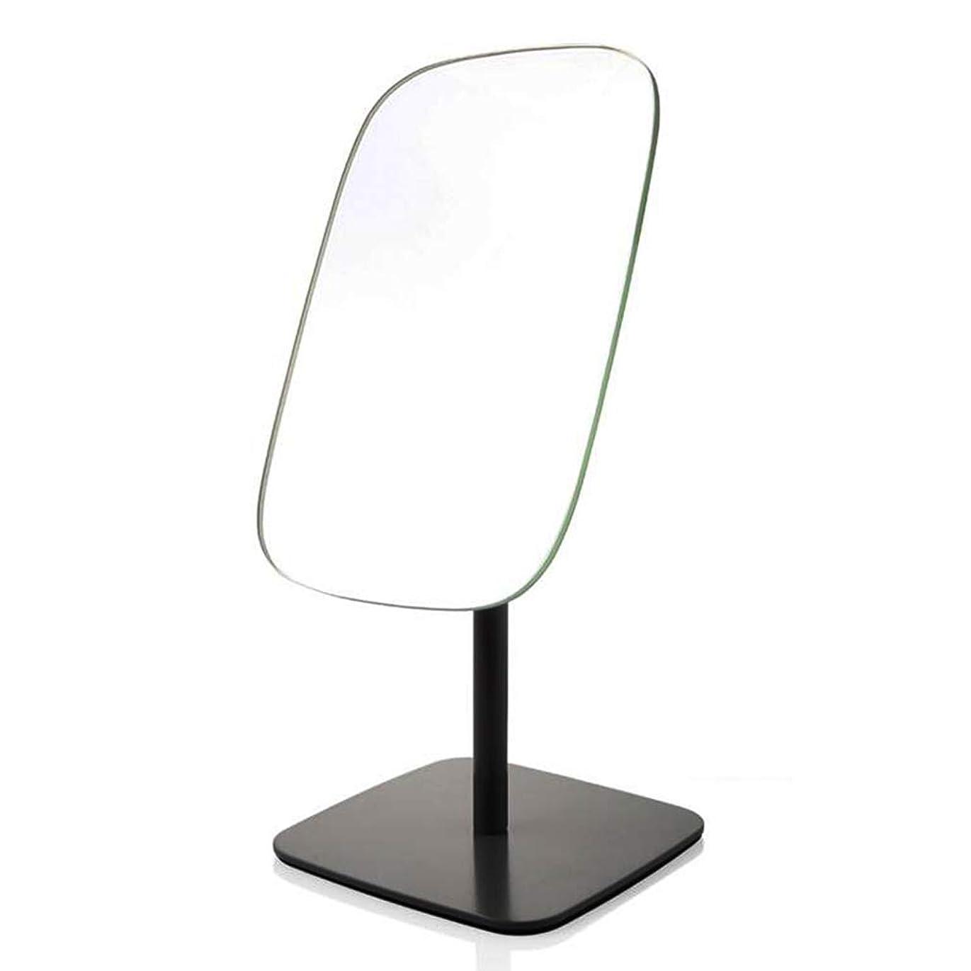 家禽原子樹皮HUYYA 化粧鏡、デスクトップ化粧ミラー片面けメイクミラーポータブルバスルームミラー,Black