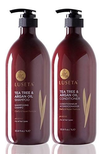 Luseta Juego de champú y acondicionador de árbol de té y aceite de argán, 2 unidades de 1000 ml para limpiar y eliminar la impureza, color seguro, libre de sulfatos sin fosfatos ni parabenos.