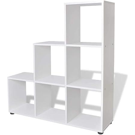 vidaXL Estantería para Libros en Forma de Escalera con Dimensiones 107 cm Color Blanca