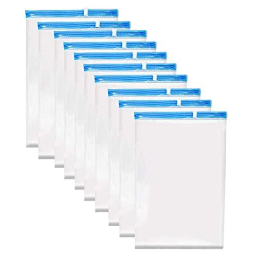Sacchetti Salvaspazio Sacchetti Compressione Sacchetti Buste Sottovuoto 10Pcs 35 x 50 cm ,Non C'è Bisogno Di un Aspirapolvere o di Una Pompa Trasparente Viaggio per Abiti Piumoni Cuscini Coperte Tende