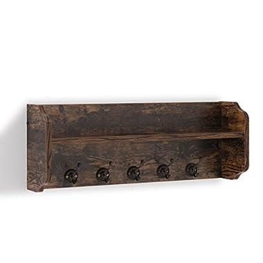 Danya B XF161206PI - Rustic Floating Wall Shelf with Hooks & Aged Wood Finish – Wall Mount - Brown