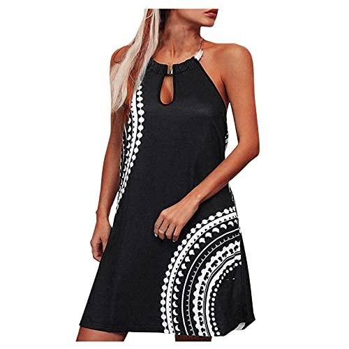 BIBOKAOKE Vestido corto hasta la rodilla, sexy, sin mangas, para verano, estilo boho, informal, cuello redondo, cuello redondo, estilo camiseta, suelto, vestido minivestido de línea A.