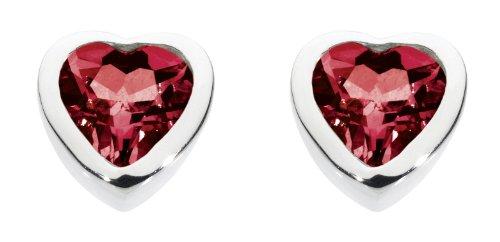 Dew Women's Sterling Silver and Garnet Heart Stud Earrings