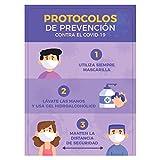 Vinilo adhesivo, Protocolo de prevención Covid-19, 42x29,7 cm, Cartel Informativo