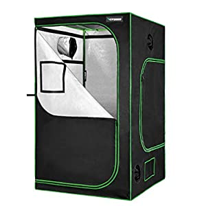 """VIVOSUN 48""""x48""""x80"""" Mylar Hydroponic Grow Tent with Observation Window and Floor Tray for Indoor Plant Growing 4' x4'"""