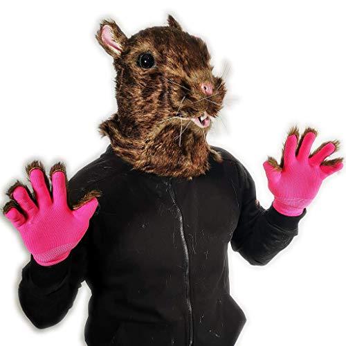 Rubber Johnnies , Mscara de ratas peludas marrn con guantes peludos, cabeza completa, mscaras de disfraces de disfraces, realistas y animales