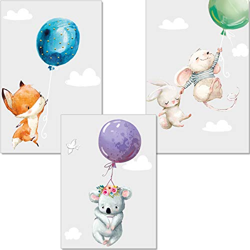 artpin® 3er Set Poster Kinderzimmer Deko - Bilder Babyzimmer DIN A4 - Wandbilder Mädchen Junge - Kinderposter Hase Maus Fuchs Luftballons Wolken (P45)